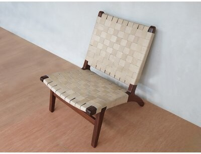 """Masaya & Co 24"""" Wide Genuine Leather Lounge Chair Fabric: Natural Genuine Leather, Leg Color: Royal Mahogany"""