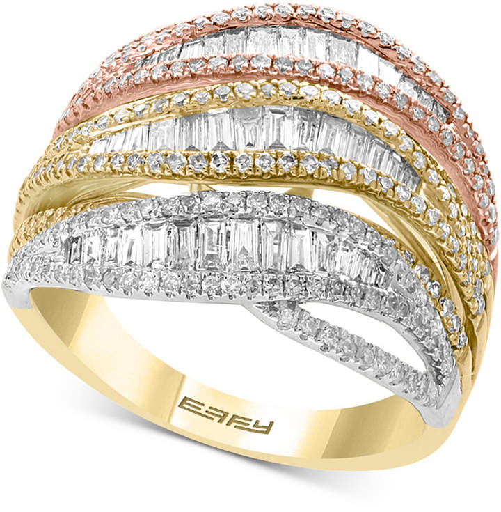 Effy Diamond Tri-Color Statement Ring (1-3/8 ct. t.w.) in 14k Gold, White Gold & Rose Gold