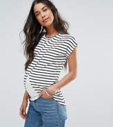 Asos Maternity - Nursing Asos Maternity Nursing T-Shirt With Wrap Overlay In Stripe