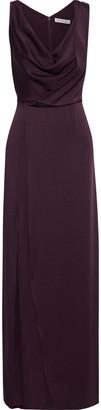 Halston Split-front Draped Satin-crepe Gown