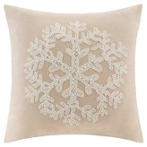 Nobrand No Brand Holiday Embroidered Snowflake Suede Pillow - Tan