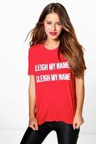 Boohoo Petite Imogen Novelty Christmas Slogan Tee red
