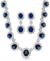 Bling Jewelry Simulated Sapphire Cz Necklace Earring Set Rhodium Plated.
