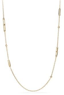 David Yurman Barrels Long Station Necklace with Diamonds in 18K Gold