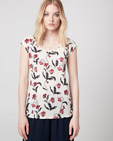 Le Château Floral Print Burnout Scoop Neck Top