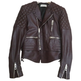 Balenciaga Burgundy Leather Biker jacket