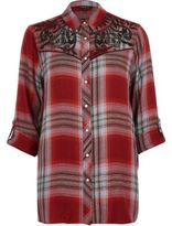 River Island Womens Red check western embroidered shirt