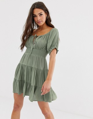 ASOS DESIGN tiered mini skater dress with shirred waist