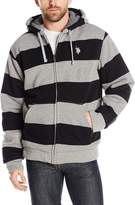 U.S. Polo Assn. Men's Fully Sherpa Lined Rugby Stripe Fleece Hoodie