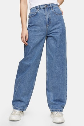 Topshop Womens Mid Blue 90S Straight Jeans - Mid Stone