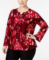INC International Concepts Plus Size Lace-Up Bell-Sleeve Printed Blouse, Only at Macy's