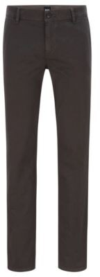 HUGO BOSS Regular Fit Casual Chinos In Brushed Stretch Cotton - Dark Grey