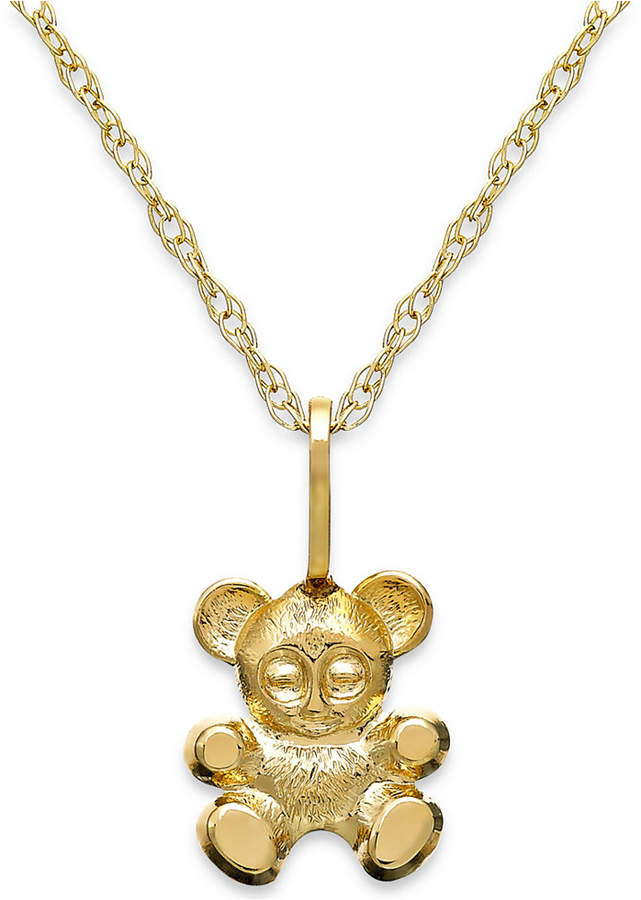 Macy's Children's Teddy Bear Teddy Bear Pendant Necklace in 14k Gold
