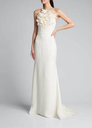 Oscar de la Renta Halter-Neck Illusion Gown w/ Floral Embellishment