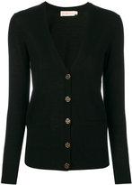 Tory Burch buttoned V-neck cardigan - women - Wool - XS