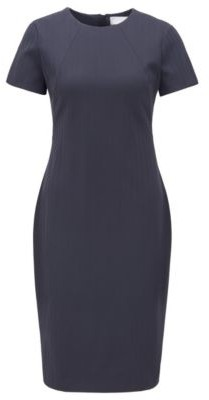 HUGO BOSS Shift Dress In Italian Herringbone Jersey - Light Blue