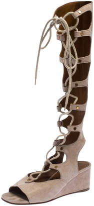 Chloé Beige Suede Gladiator Lace Up Tall Wedge Sandals Size 36