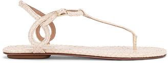 Aquazzura Almost Bare Snake Print Sandal Flat in Cream | FWRD