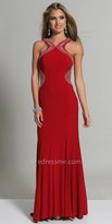 Dave and Johnny Shimmering Scoop Back Halter Evening Gown