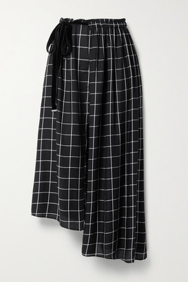 Mother of Pearl Net Sustain Ruby Asymmetric Wrap-effect Checked Twill Midi Skirt - Black