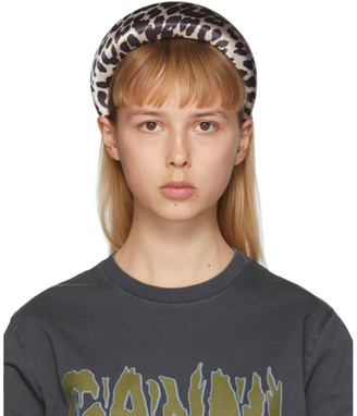 Ganni Brown and Off-White Leopard Padded Headband