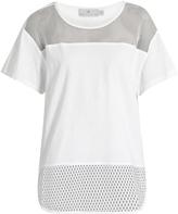 adidas by Stella McCartney Mesh-panelled cotton T-shirt