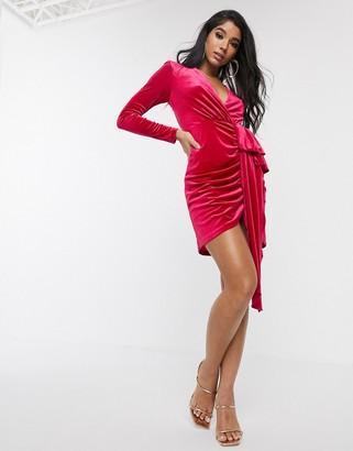 Style Cheat velvet plunge front ruffle midi dress in pink