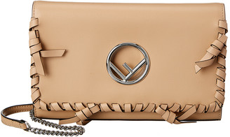 Fendi Ff Logo Leather Wallet On Chain