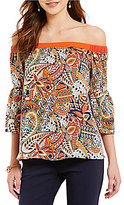 Gibson & Latimer Off-the-Shoulder 3/4 Sleeve Paisley Printed Top