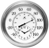 "Infinity Instruments Prague Temperature and Time Outdoor Clock - 16""D - White/Gray"