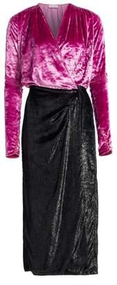 ATTICO Velvet & Satin Midi Robe Dress