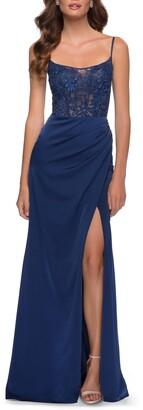 La Femme Lace Satin Gown