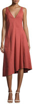 Theory Tadayon New Stretch Linen Midi Dress, Red