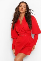 Thumbnail for your product : boohoo Woven Puff Sleeve Blazer Dress