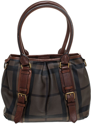 Burberry Brown House Check Coated Canvas Satchel