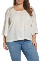 Melissa McCarthy Plus Size Women's Embroidered Bell Sleeve Skimmer Top