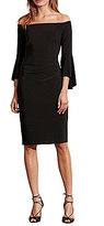 Lauren Ralph Lauren Off-the-Shoulder Bell Sleeve Sheath Dress