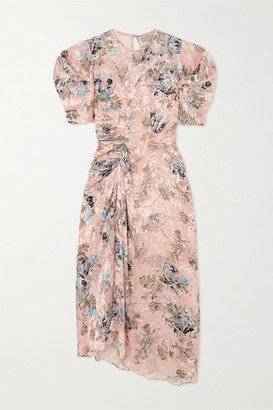 Preen by Thornton Bregazzi Pippa Ruched Floral-print Devore-satin Midi Dress - Pink