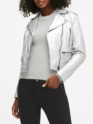 Banana Republic Metallic Leather Moto Jacket