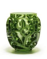 Lalique Tourbillons Limited Edition Green Vase