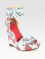 Theodora & Callum Printed Linen Wedge Platform Sandals