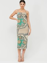 Missguided Scarf Print Ruched Cup Midi Dress