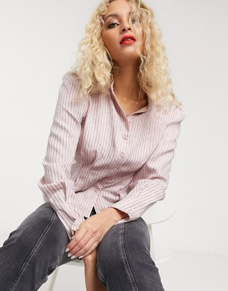 And other stories & stripe puff sleeve blouse in pink