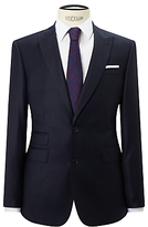 John Lewis Super 120s Wool Stripe Tailored Fit Suit Jacket, Navy