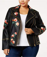 INC International Concepts Anna Sui Loves Plus Size Embroidered Faux-Leather Jacket, Created for Macy's