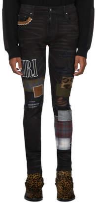 Amiri Black Grunge Patch Medium Crafted Jeans