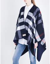 Burberry Ladies Navy Checked Iconic Merino Wool Cape