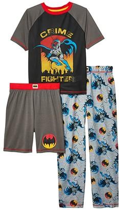 Komar Kids Batman Three-Piece Pajama Set (Little Kids/Big Kids) (Gray) Boy's Pajama Sets
