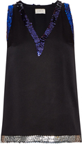 Lanvin Sequin-embellished satin top