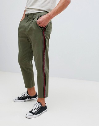 Jack and Jones Tapered Chino With Side Stripe-Green
